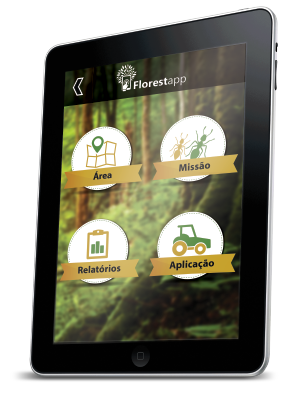 tablet com o aplicativo em uso